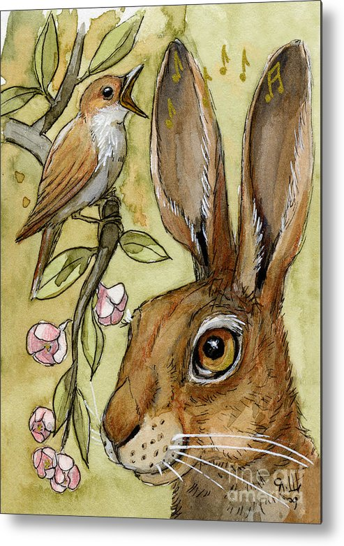 Rabbir Metal Print featuring the painting Lovely Rabbits - By Listening To The Song by Svetlana Ledneva-Schukina