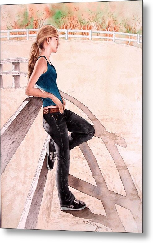 Young Girl Metal Print featuring the painting Madison by Sonya Catania