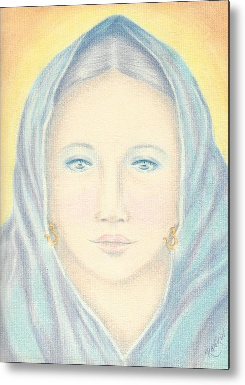 Madonna Metal Print featuring the mixed media Madonna In Blue by K S Rankin