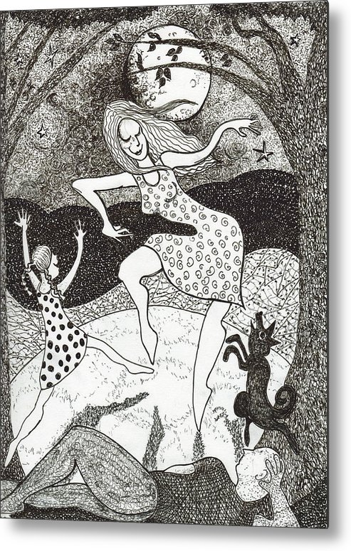 Pen And Ink Metal Print featuring the drawing Mama Did The Moon Dance by Todd Peterson