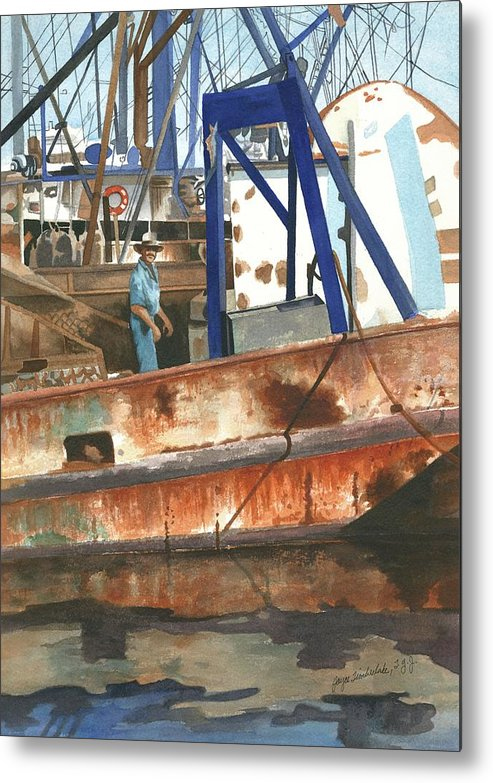 Workboats Metal Print featuring the painting Man At Work by Joyce Timberlake