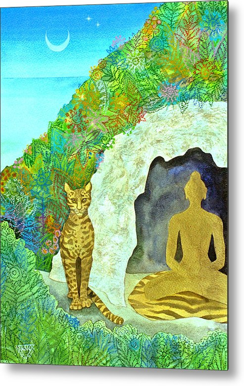 Yogi Meditation Jungle Cave Ocelot Spirtual Dawn Tropical Metal Print featuring the painting Meditation At Dawn by Jennifer Baird