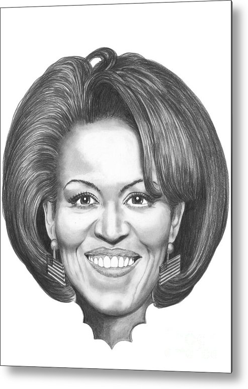 Drawing Metal Print featuring the drawing Michelle Obama by Murphy Elliott