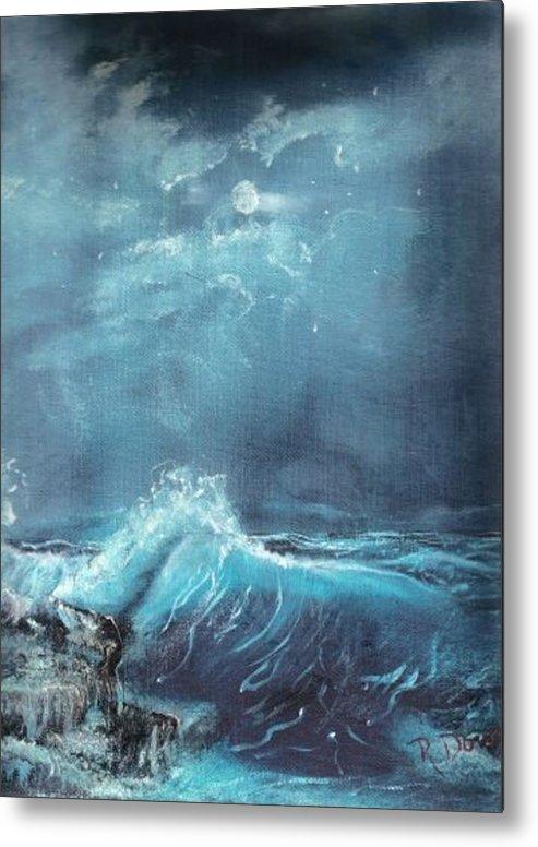 Water Sea Moon Surf Seascape Moonlight Lake Ocean Metal Print featuring the painting Moonlight Surf by Raymond Doward