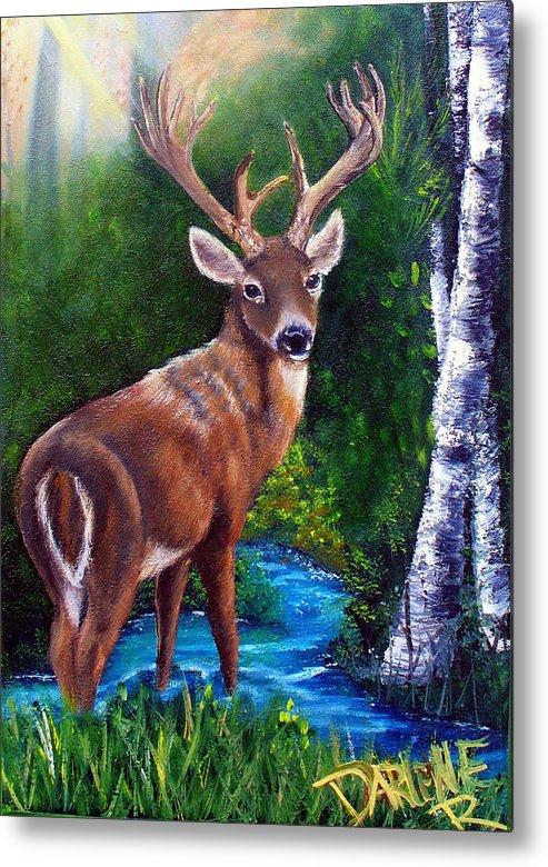 Deer Metal Print featuring the painting Morning Walk by Darlene Green