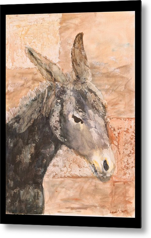 Donkey Metal Print featuring the painting Moroccan Donkey by Laura Vazquez