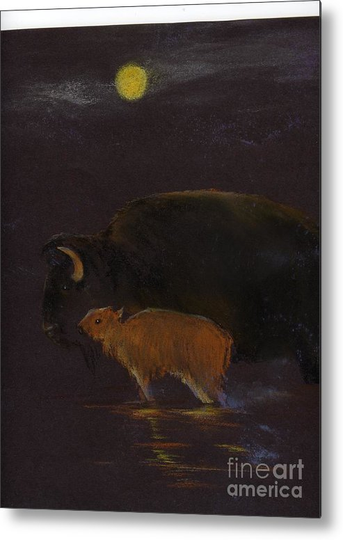 A Mother Bison And Calf Crossing The River Under Moon Light. This Is An Oil Pastel Painting. Metal Print featuring the painting Mother Bison And Calf by Mui-Joo Wee