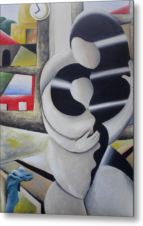 Landscape Metal Print featuring the painting Motherhood by Massimiliano Stanco