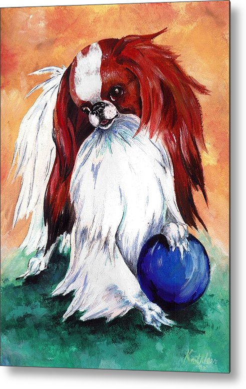 Japanese Chin Metal Print featuring the painting My Ball by Kathleen Sepulveda
