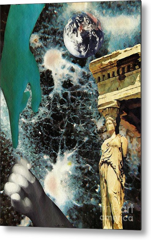 Space Metal Print featuring the mixed media New Life In Ancient Time-space by Sarah Loft