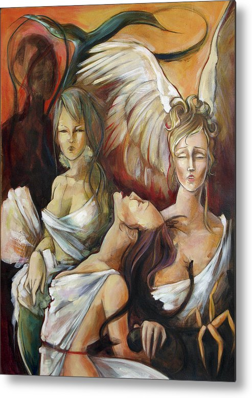 Greek Metal Print featuring the painting No Rest For Hera's Wicked by Jacque Hudson