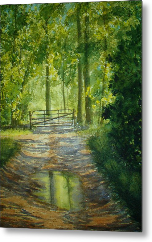 Landscape Metal Print featuring the painting No Trespassing by Shirley Braithwaite Hunt