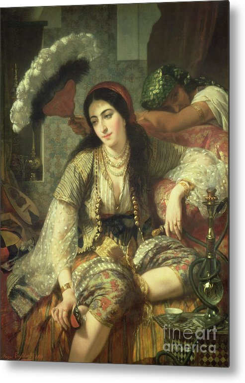 Odalisque Metal Print featuring the painting Odalisque by Jean Baptiste Ange Tissier