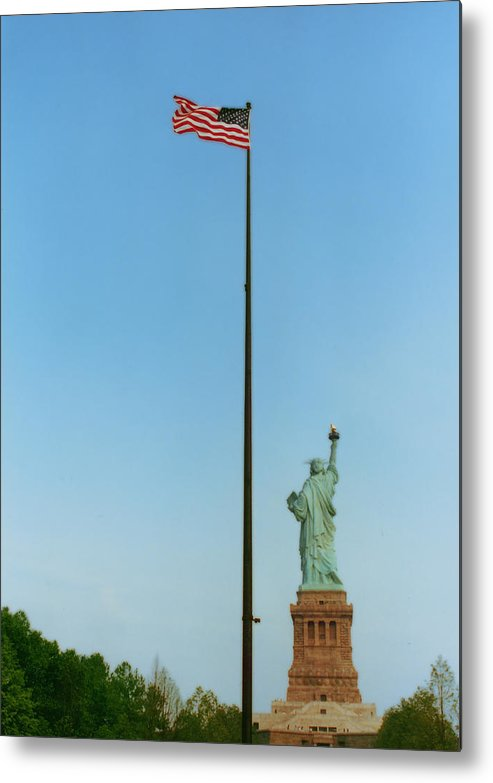 Statue Of Liberty Metal Print featuring the photograph Old Glory And Lady Liberty by Mark Fuller