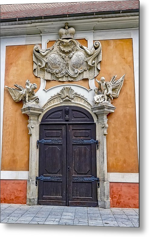 Old Ornate Door Metal Print featuring the photograph Old Ornate Door At The Cesky Krumlov Castle At Cesky Krumlov In The Czech Republic by Richard Rosenshein