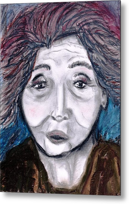 Face Metal Print featuring the drawing Old Suchi by JuneFelicia Bennett