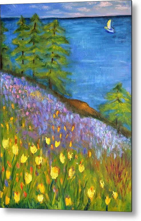 Impressionist Art Metal Print featuring the painting On The Hillside by Marla McPherson