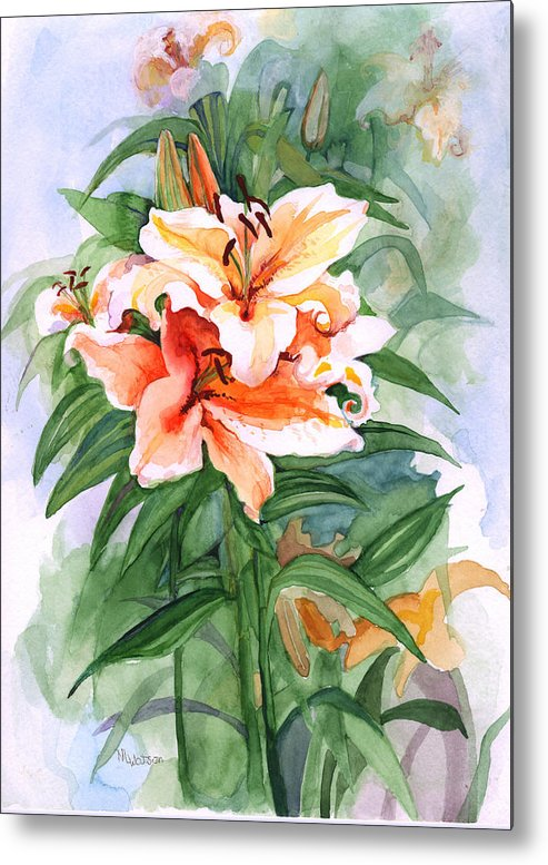 Lily Metal Print featuring the painting Oriental Lilies by Nancy Watson