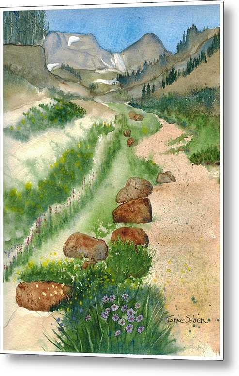 Landscape Metal Print featuring the painting Paintbrush Trail by Janice Sobien