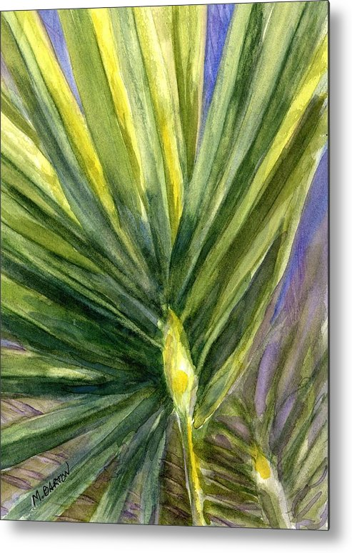 Palm Metal Print featuring the painting Palm Frond by Marilyn Barton
