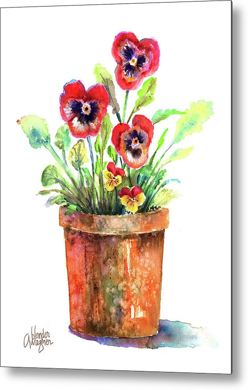 Pansy Metal Print featuring the painting Pansies In A Clay Pot by Arline Wagner