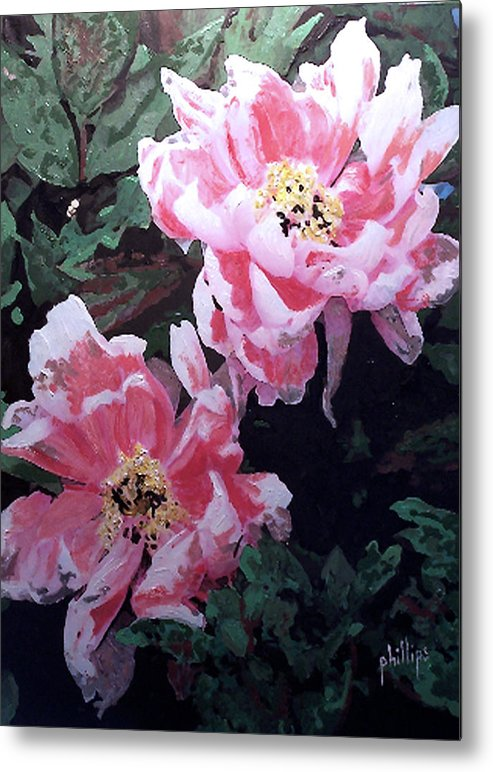 Flowers Metal Print featuring the painting Peony Blooms by Jim Phillips