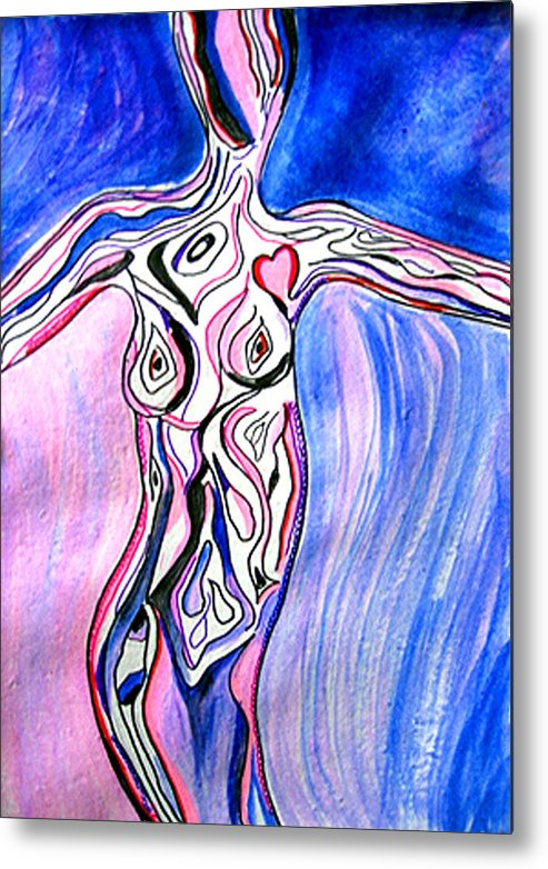 Corporate Metal Print featuring the painting Personification Of Woman by Seshadri Sreenivasan
