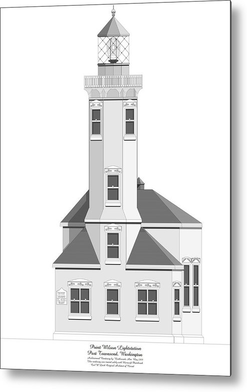 Lighthouse Metal Print featuring the painting Point Wilson Architectural Drawing by Anne Norskog