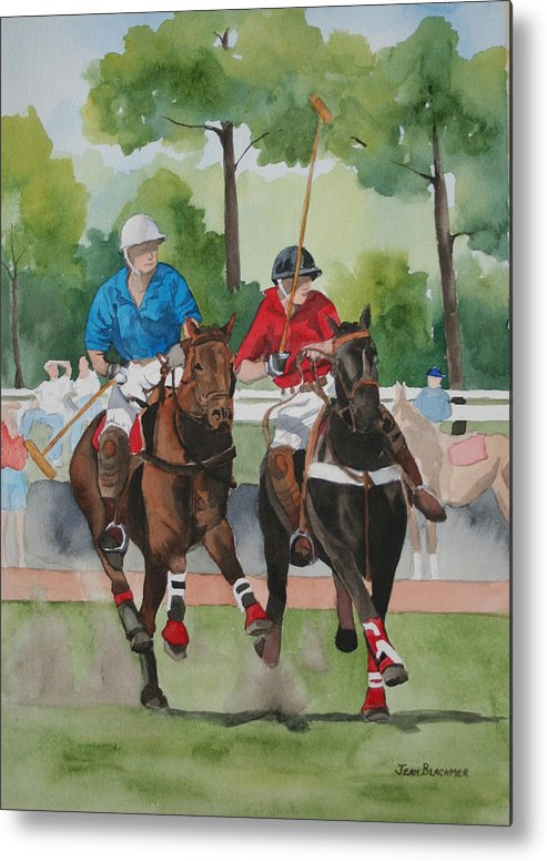 Polo Metal Print featuring the painting Polo In The Afternoon 2 by Jean Blackmer