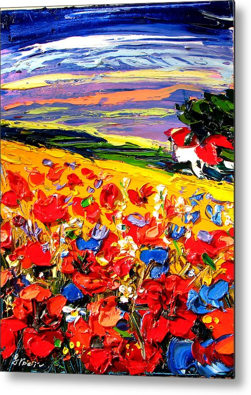 Artwork Metal Print featuring the painting Poppies In The Spring Time. by Maya Green