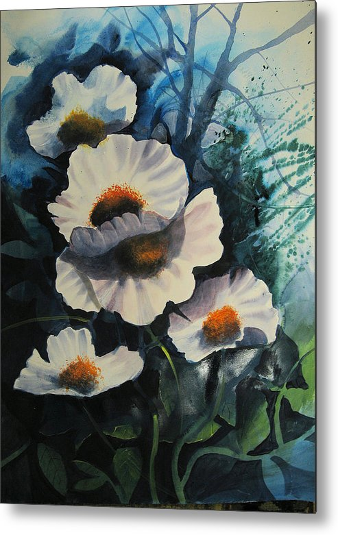 Floral Metal Print featuring the painting Poppies by Robert Carver