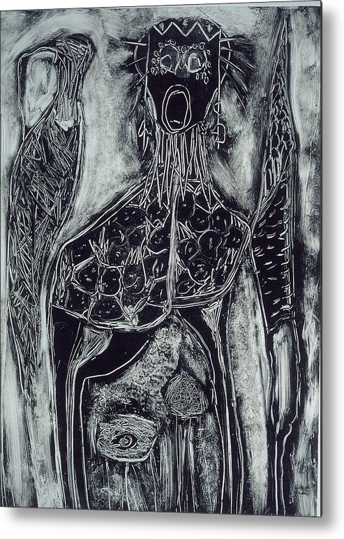 Primitive Metal Print featuring the print Primal by Angela Dickerson