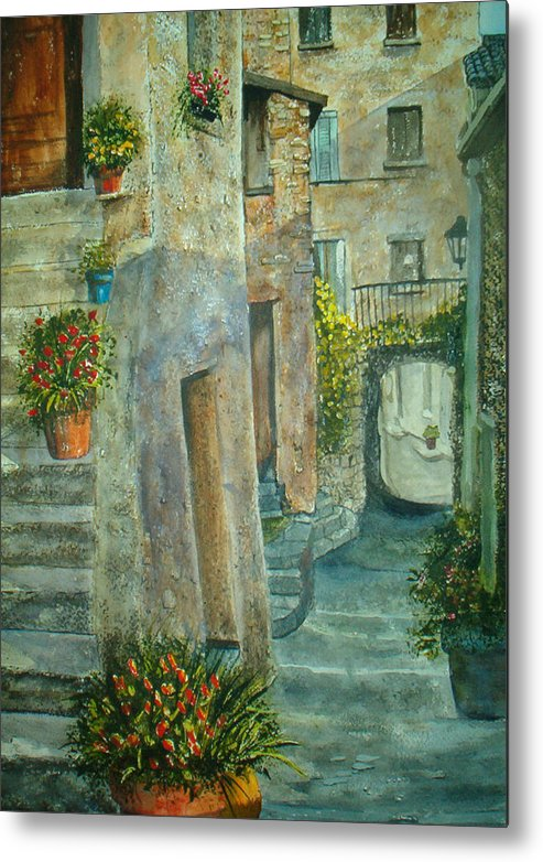 Landscape Metal Print featuring the painting Provence Alley by Shirley Braithwaite Hunt