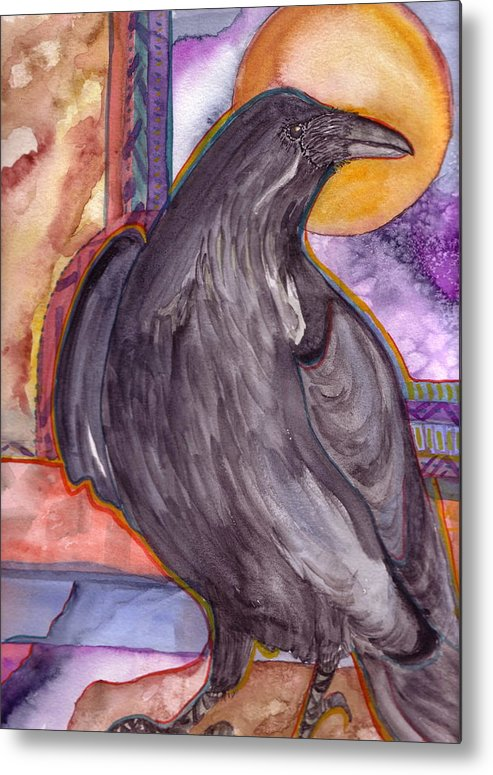 Wildlife Metal Print featuring the painting Raven Steals Sunlight by K Hoover