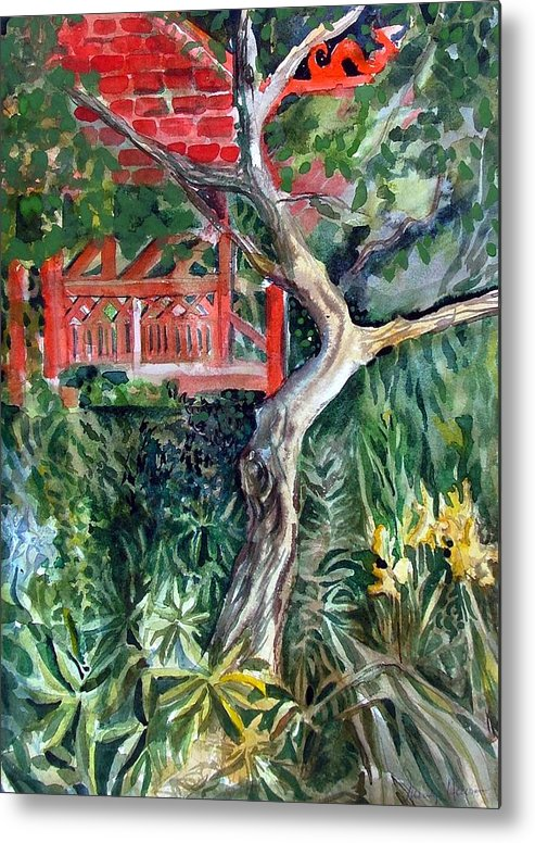 Watercolor Metal Print featuring the painting Red Pagoda by Mindy Newman