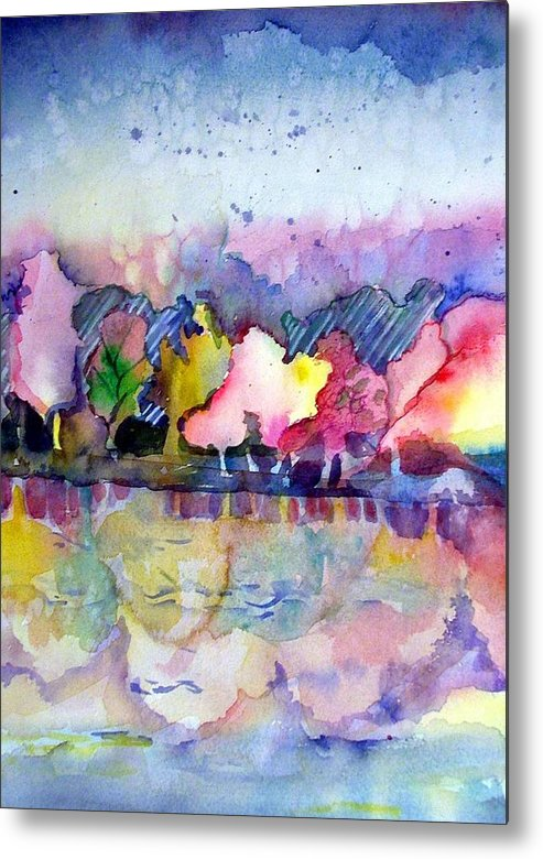 Landscape Metal Print featuring the painting Reflections by Mindy Newman