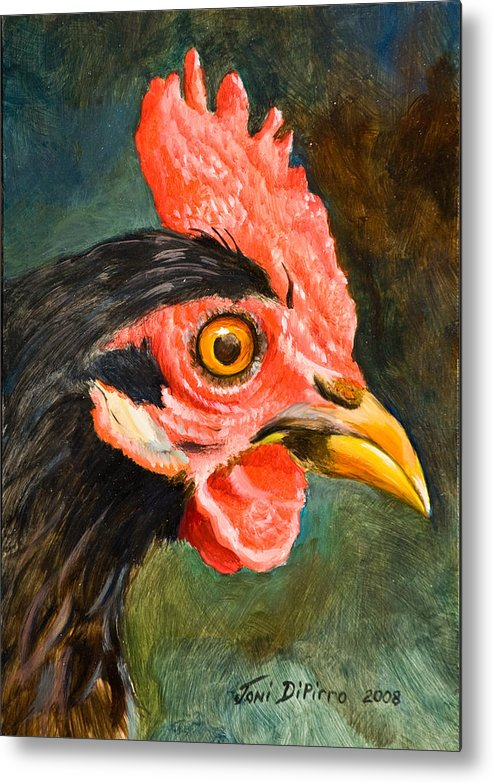 Rooster Metal Print featuring the painting Rooster by Joni Dipirro