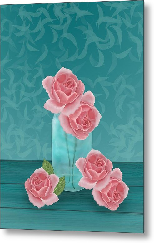 Roses Metal Print featuring the digital art Roses In Clear Blue Jar by Michelle Lanoue