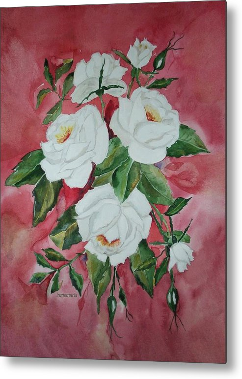 Roses Flowers Metal Print featuring the painting Roses by Irenemaria