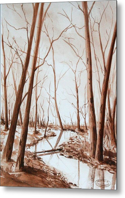 Sepia Watercolour Of Trees Metal Print featuring the painting Rotary Bog by Sharon Steinhaus