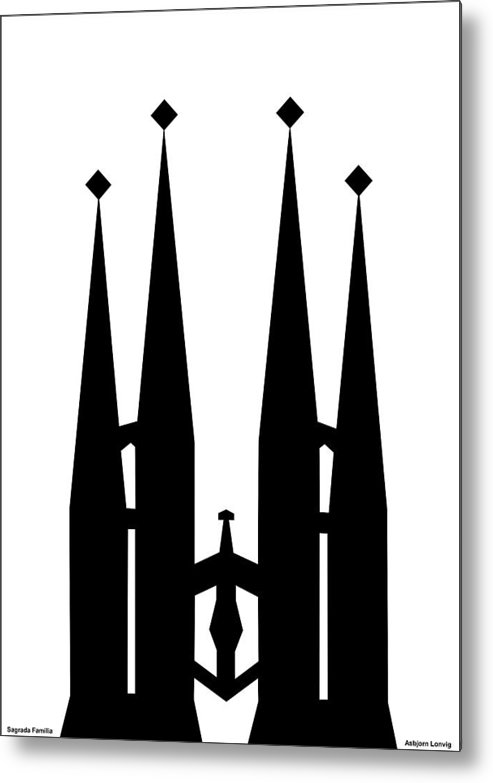 Sagrada Familia Metal Print featuring the digital art Sagrada Familia by Asbjorn Lonvig