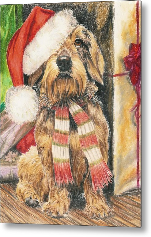 Hound Group Metal Print featuring the drawing Santas Little Yelper by Barbara Keith