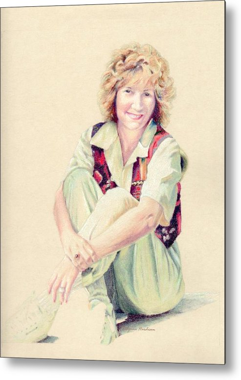 Female Metal Print featuring the painting Self Portrait by Robynne Hardison