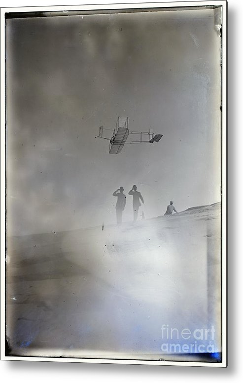 Side View From Below Of Orville Soaring In Level Flight Metal Print featuring the photograph Side View From Below Of Orville Soaring In Level Flight Spectators Looking Up At Glider Wright Broth by R Muirhead Art