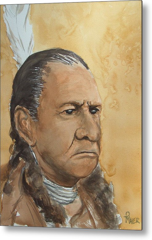 American Indian Metal Print featuring the painting Sitting Bull by Pete Maier