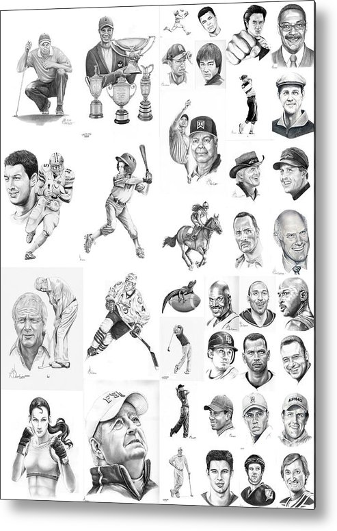 Pencil Metal Print featuring the drawing Sports Figures Collage by Murphy Elliott