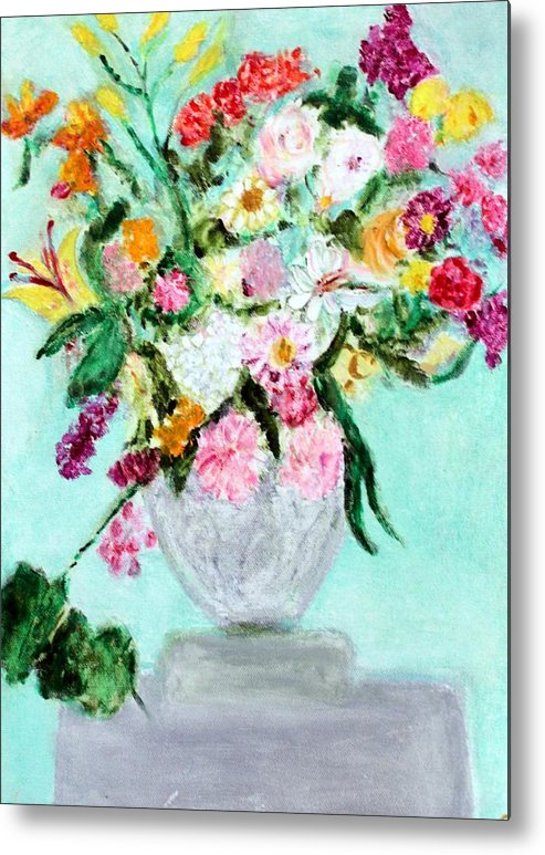 Still Life Metal Print featuring the painting Spring Bouquet by Michela Akers