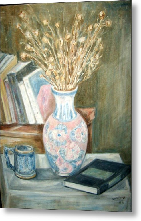 Still Life With Books Vase Dry Plants Book Metal Print featuring the painting Stalks 2 by Joseph Sandora Jr