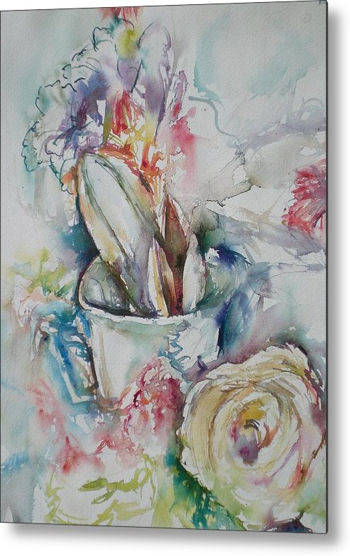 Still Life Metal Print featuring the painting Still Life With Rose by Aleksandra Buha