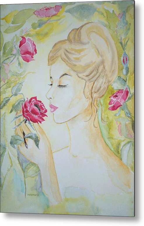 Roses Flowers Metal Print featuring the painting Stop And Smell The Roses by Irenemaria Amoroso